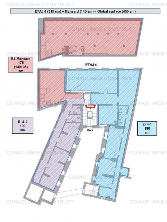 De inchiriat spatiu de birouri la etajul 4 si mansarda pretabil pentru birouri
