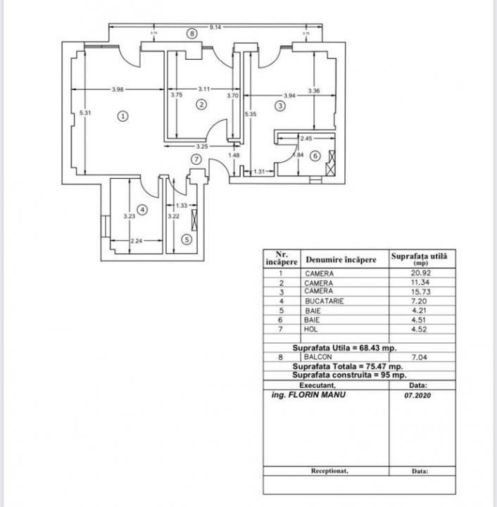 APARTAMENT DE VANZARE 3 CAMERE AVIATIEI-MEDICOVER ( CONSTRUCTIE 2021)