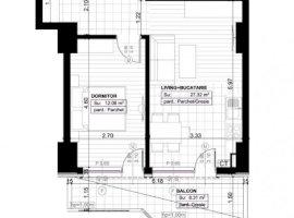 Apartament 2 camere open-space, Zona COPOU, suprafata totala 52,77 mp