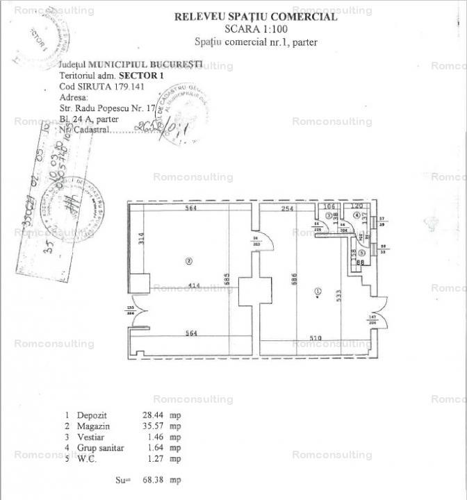 Vanzare spatiu comercial 68,38 mp – Str. Radu Popescu nr. 17