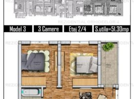 Apartamanet 3 camere, parcare, lift, Zona Militari Residence