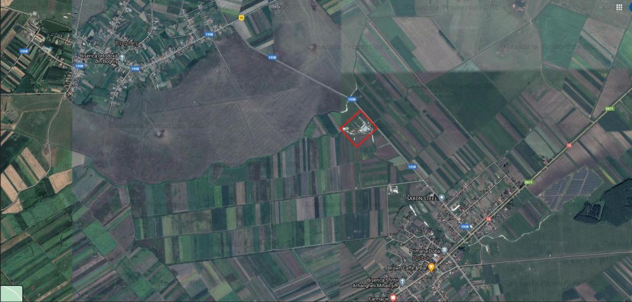 Teren agricol 10.304 mp cu constructii de sere, Doba, Satu Mare