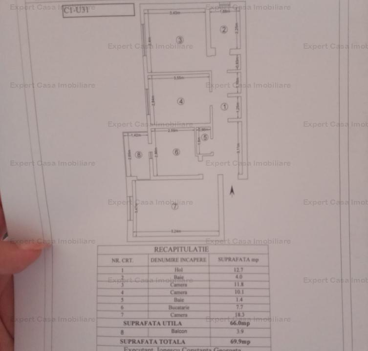 Apartament 3 camere,decomandat,2 bai,70 mp,Pacurari,67000 euro neg