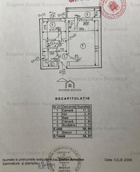 Garsoniera 30,66 mp, conf 1 decomandat, mobillat, zona Teiul Doamnei