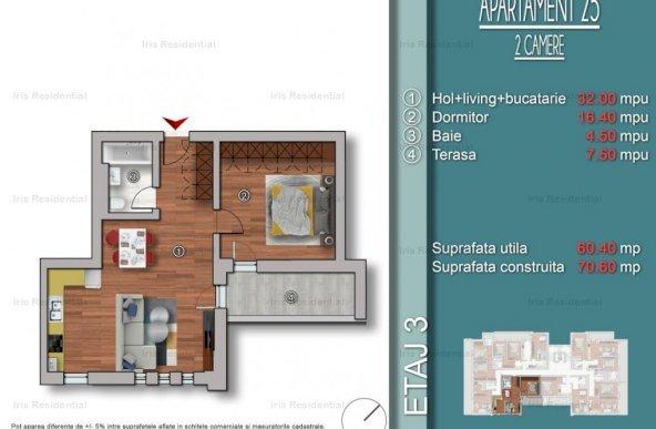 Apartament 2 camere 52.9 mp utili, IRIS BUILD, DIRECT DEZVOLTATOR