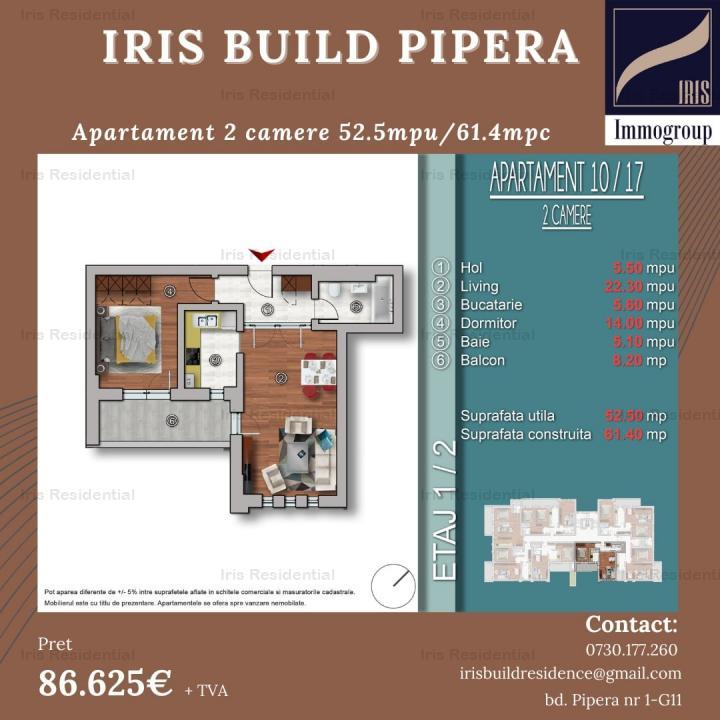 Apartament 2 camere 61.50mpc , IRIS BUILD, DIRECT DEZVOLTATOR